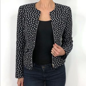 Helene Berman London Navy Polka Dot Zip Blazer